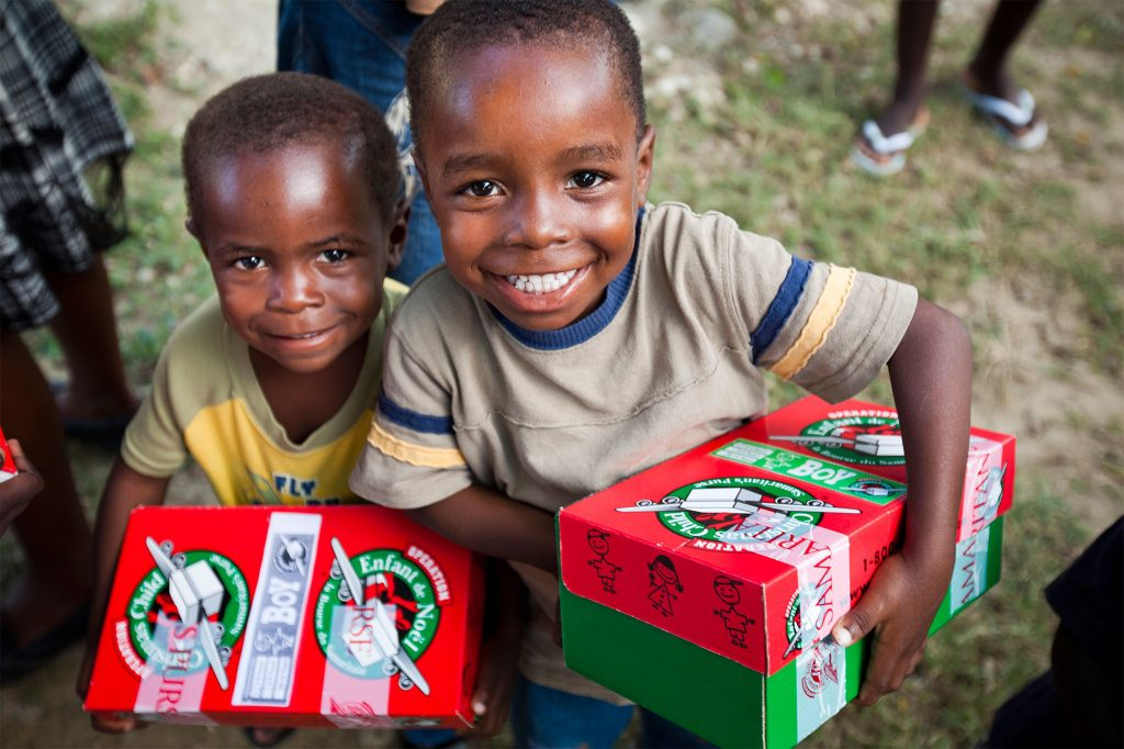 70,000 gift-filled Operation Christmas Child shoe boxes packed by Canadians will go to children in Haiti this year. (CNW Group/Billy Graham Evangelistic Association of Canada) (CNW Group/Samaritan's Purse Canada)